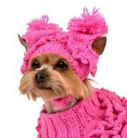 Hand Knit Hot Pink Ruffles Dog Sweater w/Hat