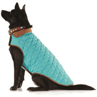 Aqua / Brown Diamond Quilted Dog Coat