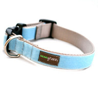Light Blue Velvet Dog Collar & Optional Leash - River