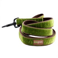 Hunter Green Velvet Dog Collar & Optional Leash - Hunter