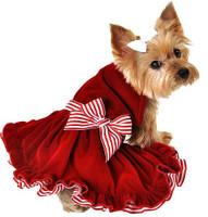 Red Velvet Striped Ribbon Christmas Dog Dress