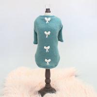 Teal Dainty Bow Angora Dog Sweater