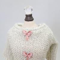 Cream Dainty Bow Angora Dog Sweater
