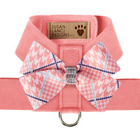 Glen Houndstooth Nouveau Bow Tinkie Harness - Peaches N Cream