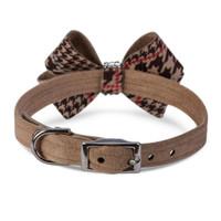 Chocolate Glen Houndstooth Nouveau Bow Collar