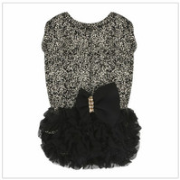 Luxury Frilled Dog Dress - Black / Gold