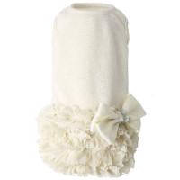 Luxury Frilled Dog Dress - Ivory / White