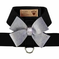 Black Tinkie Harness with Platinum Glitzerati Nouveau Bow - Choose Color