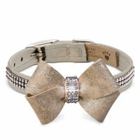 Champagne Glitzerati Nouveau Bow 3 Row Giltmore Dog Collar