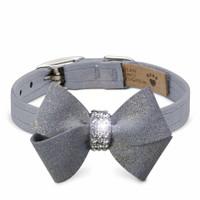"Platinum Glitzerati Nouveau Bow Dog Collar - XXL 5/8"""