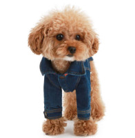 Puppy Angel Embroidered Denim Dog Jacket w/ Sleeves - Blue
