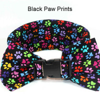 Too Cool Cooling Dog Collars - Paw Prints On Black