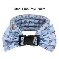 Too Cool Cooling Dog Collars -Steel Blue Paw Print
