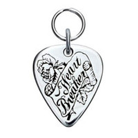 Peace, Love & Rock n' Roll Engravable Sterling Silver Guitar Pick Dog ID Tag