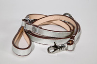 Metallic Silver Leather & Sherpa Dog Harness and Leash