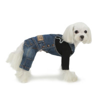 Puppy Angel Geolgine Daily Denim Overall Dog Pants - Indigo