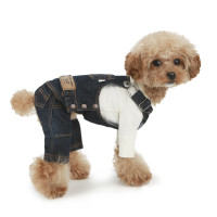 Puppy Angel Geolgine Daily Denim Overall Dog Pants - Navy Blue
