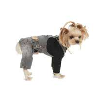 Puppy Angel Geolgine Daily Denim Overall Dog Pants - Lt Gray