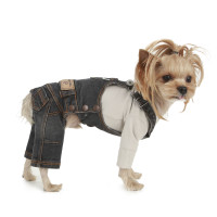 Puppy Angel Geolgine Daily Denim Overall Dog Pants - Gray