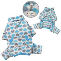 Blue and Gray Hearts Fleece Turtleneck Pet Dog Pajamas & Optional Blanket