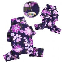 Midnight Garden Fleece Turtleneck Pet Dog Pajamas & Optional Blanket