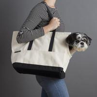 Canvas Pet Dog Tote - Natural & Black
