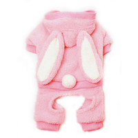 Pink Furry Bunny Hooded Dog Jumper