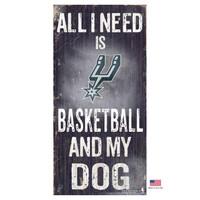 San Antonio Spurs Distressed Basketball And My Dog Sign