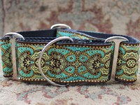 Kashmir Turkish Teal Extra Wide Dog Collar - Personalized Buckle