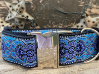 Kashmir Peacock Blue Extra Wide Dog Collar - Personalized Buckle