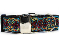 Kashmir Temple Red Extra Wide Dog Collar - Personalized Buckle