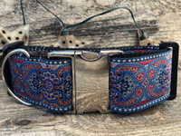 Kashmir Egyptian Sunset Extra Wide Dog Collar - Personalized Buckle