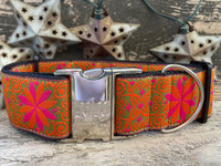Pinwheel Mexicali Sunset  Extra Wide Dog Collar - Personalized Buckle