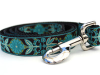 Boho Peacock Extra Wide Dog Collar - Personalized Buckle