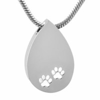 Stainless Steel Cremation Urn Pendant with Chain – Tear Drop w/ Paw Prints