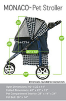 Monaco Black Geometric Pet Dog Stroller - For pets up to 25 lbs