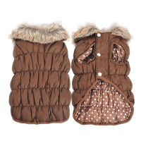 Brown Ruched Bubble Dog Jacket - Solid / Polka Dots Reversible