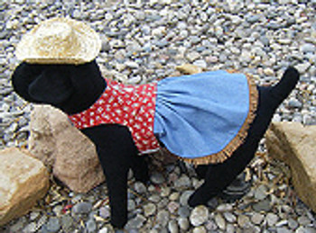 Western Red Horseshoe and Denim Harness Dog Dress