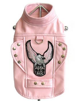 Dog Biker Jacket - Pink - Born To Ride Motorcycle