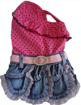 Pink Polka Dot Denim Dress