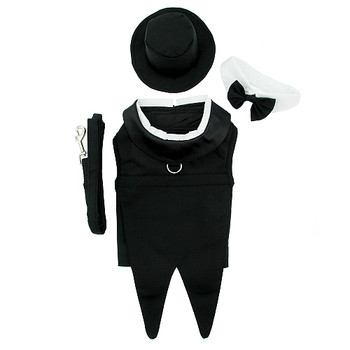 Dog Tuxedo Black with Tails, Top Hat & Bow Tie