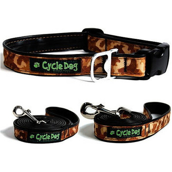 Dog Collar & Lead - Brown Camo - Made from Bike Tires