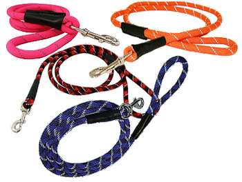 Reflective Rope Dog Leash - Snap and Slip Styles