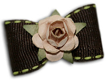Dog Bow Barrette - Mocha