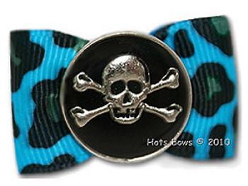 Dog Bow Barrette - Cool Bones, Turquoise Leopard