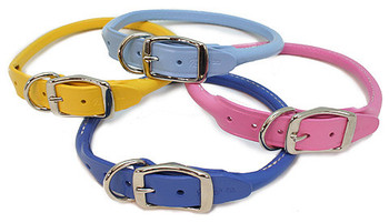 Round Rolled Leather Dog Collars - 8 Colors