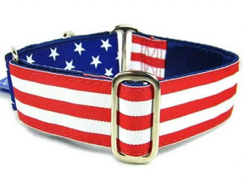 Flag Satin Lined Dog Collars - Standard and Martingale