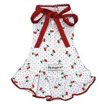 Very Cherry Dog Dress - White