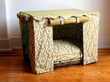 Crate Cover - Tan Damask