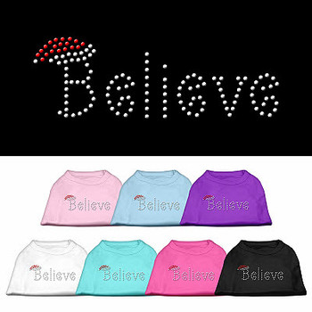 'Believe' Rhinestone Christmas Dog Tank